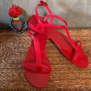 Aldo red flat sandals
